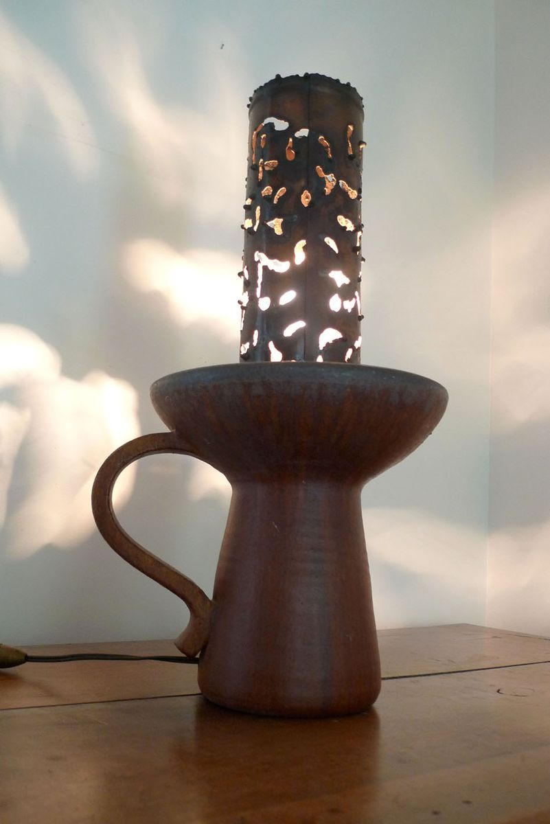 Steingut & Metall Tischlampe, 1960er