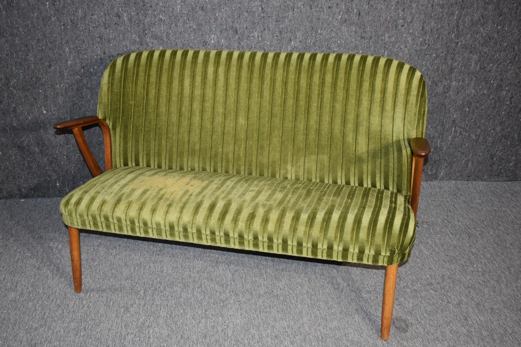 Danish Mid Century Modern 2 Seater Green Teak Sofa, 1960s