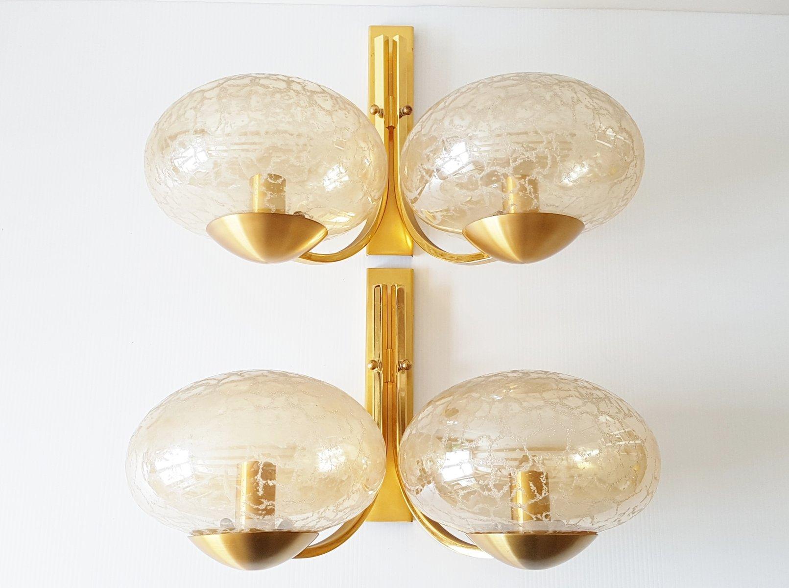 Französische Mid-Century Wandlampen aus vergoldetem Messing & Glas, 2e...