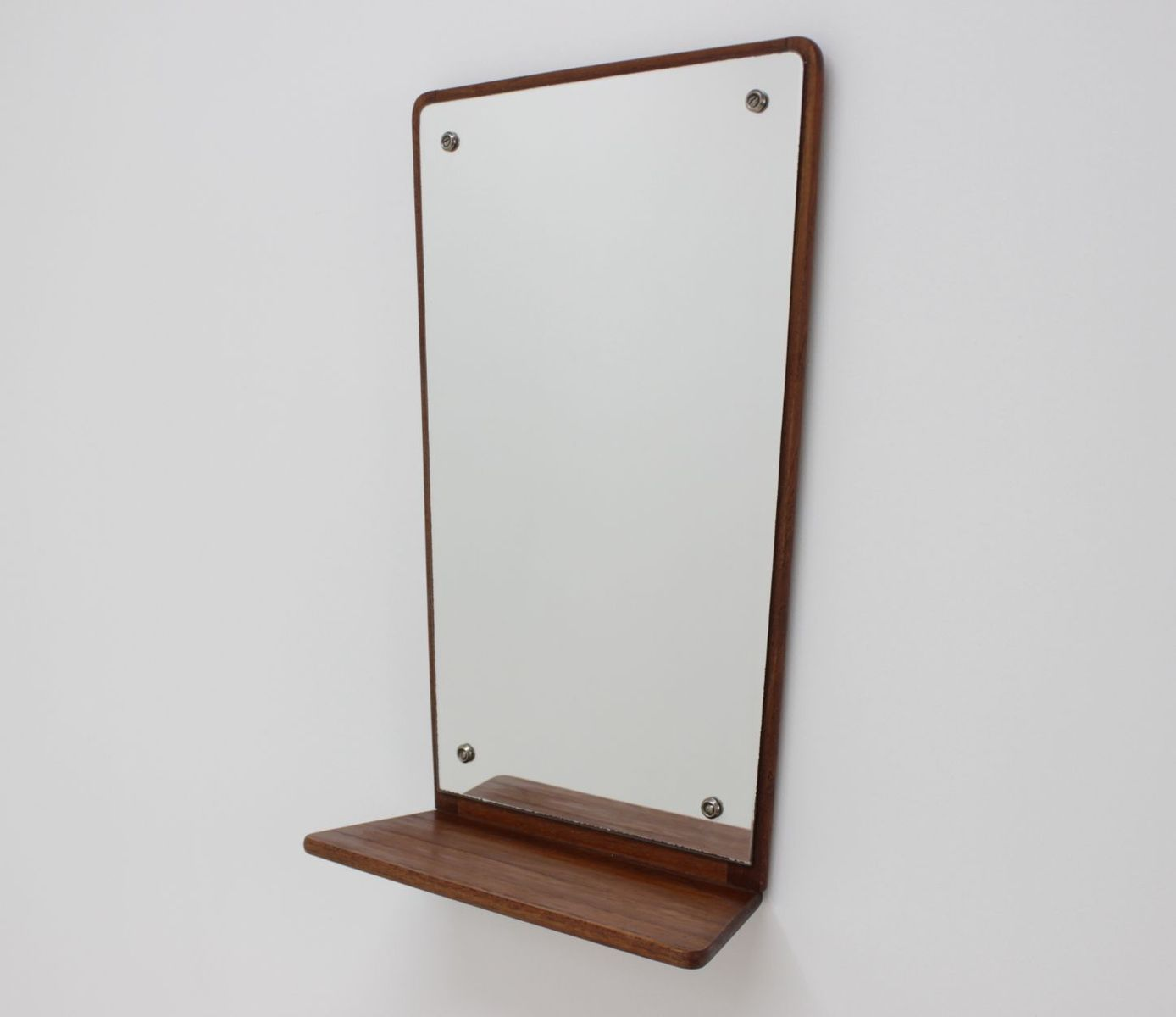 Mid Century Teak Wall Mirror With Shelf From Jansen Spejle 1960s