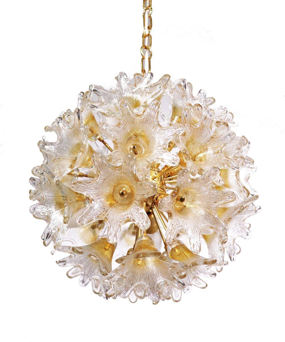 Floraler Murano Glas & Messing Kronleuchter von Venini für VeArt Italy...