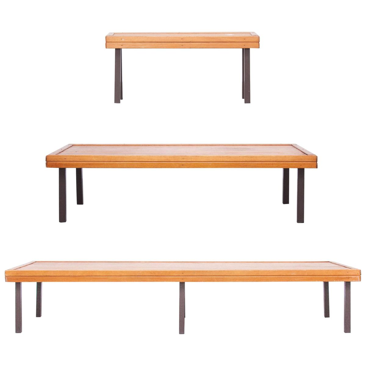 Mid-Century Bänke im formalistischen Stil, 1960er, 3er Set