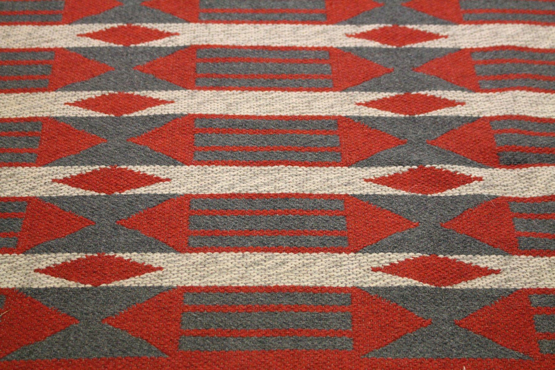 schwedischer teppich mit geometrischem muster und doppelgewebe 1950er bei pamono kaufen. Black Bedroom Furniture Sets. Home Design Ideas