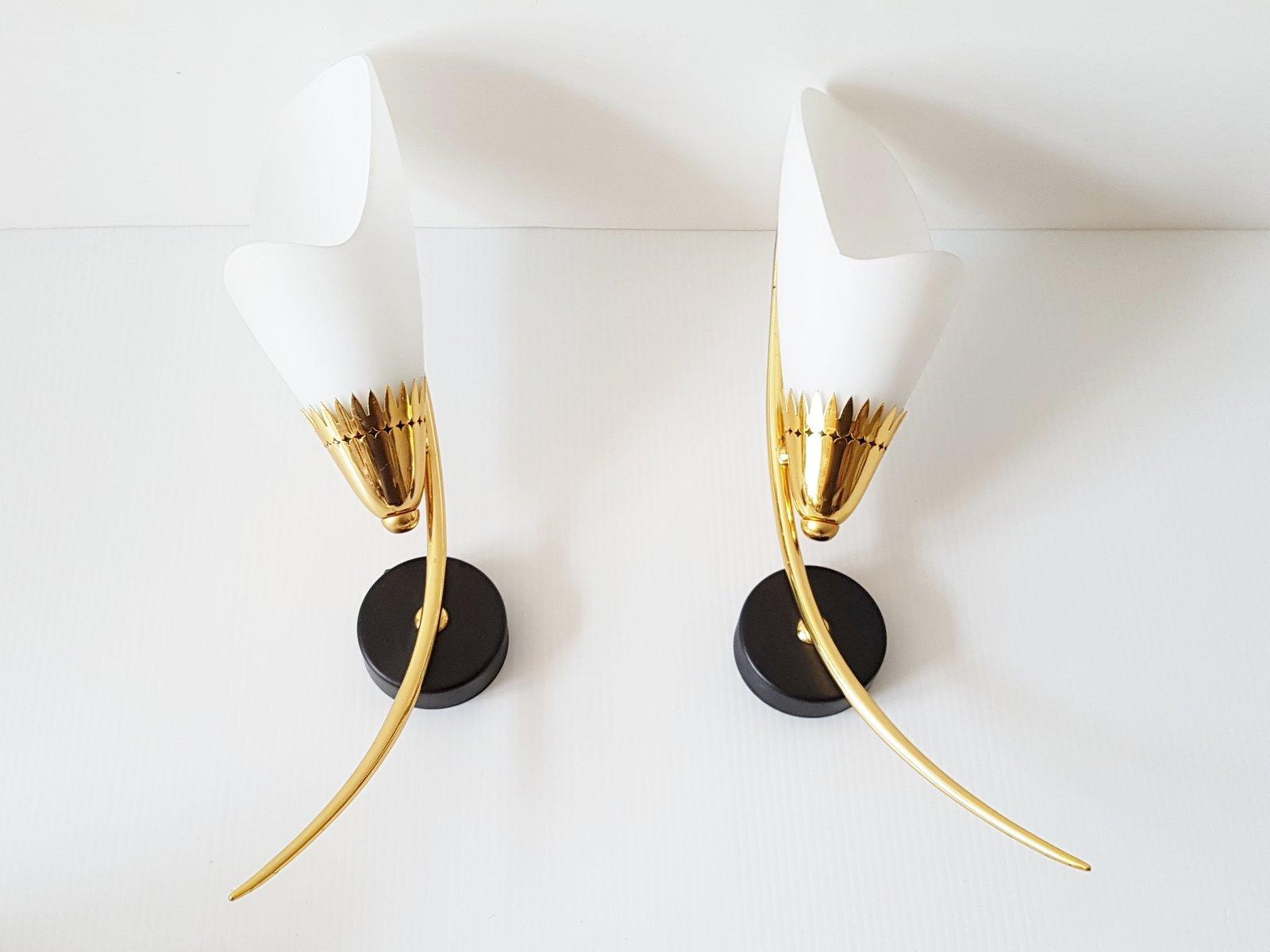 Französische Stahl, Messing & Glas Wandlampen, 1950er, 2er Set