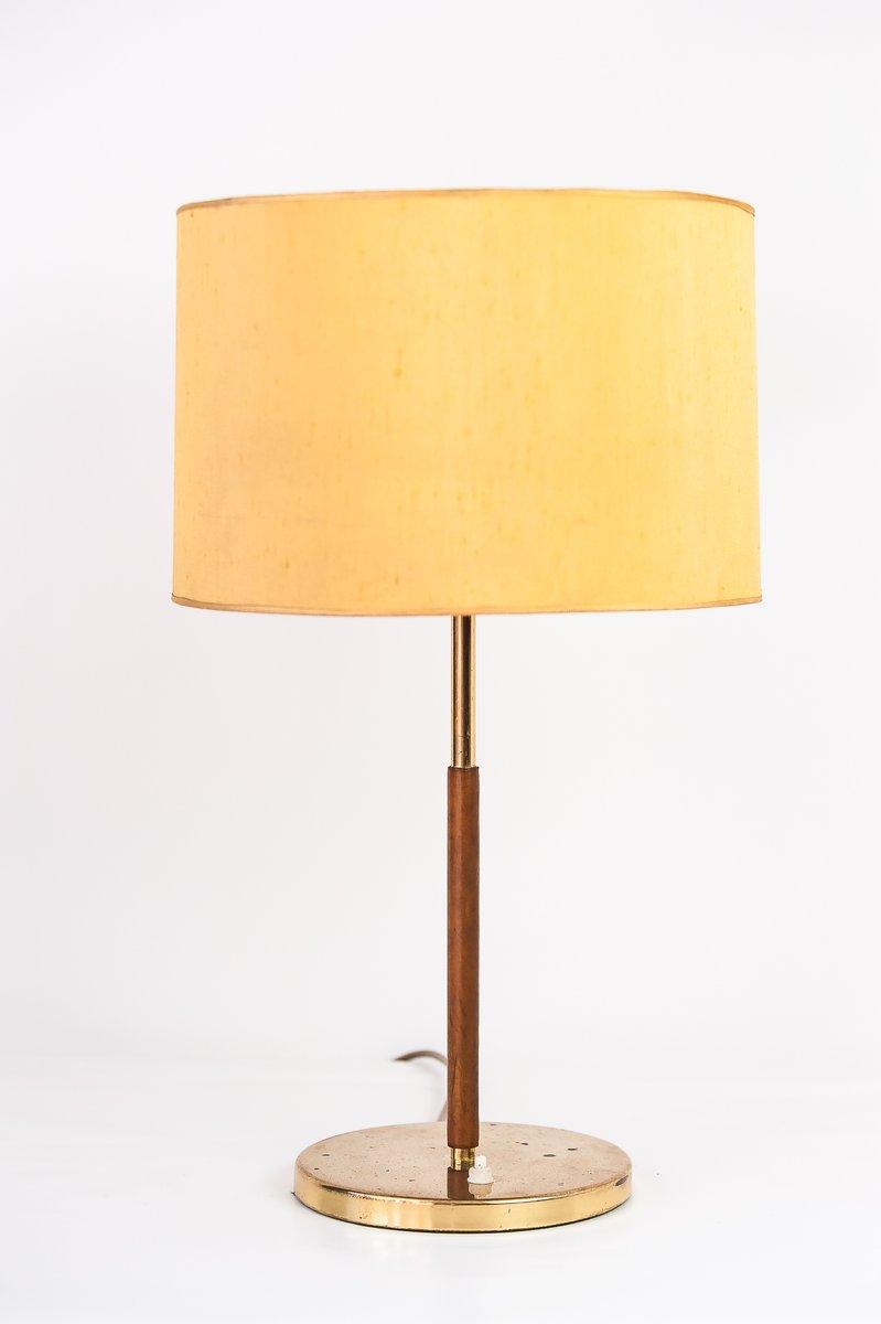 Tischlampe mit Ledergestell & gelbem Schirm von Kalmar, 1950er