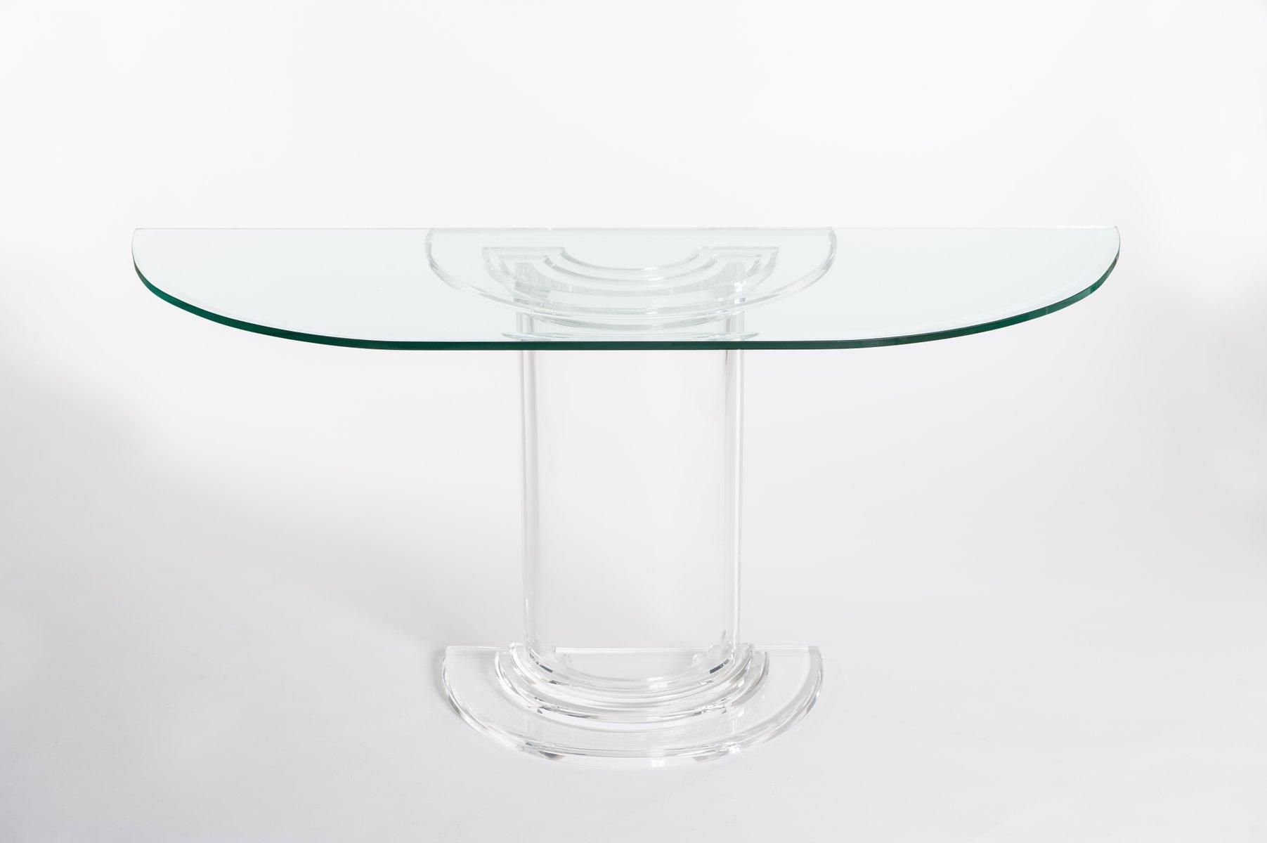 Italienischer plexiglas glas konsolentisch 1970er bei pamono kaufen - Glas konsolentisch ...