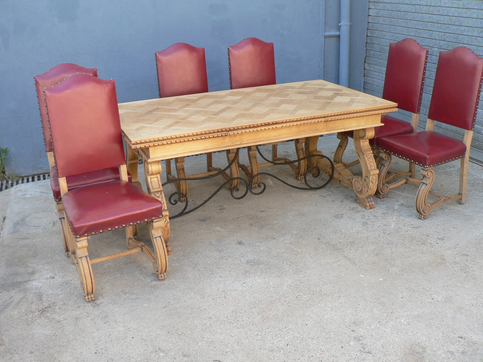 ausziehbarer regency esstisch 6 eichenholz st hle 1950er bei pamono kaufen. Black Bedroom Furniture Sets. Home Design Ideas