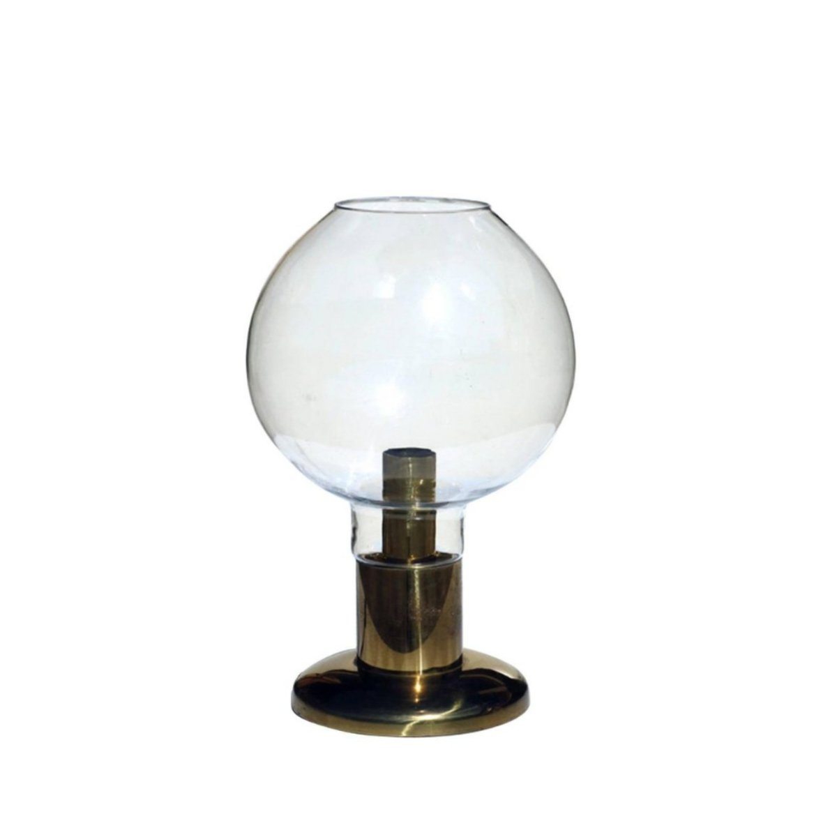 Mundgeblasene Glas Hollywood Regency Messing Tischlampe, 1970er