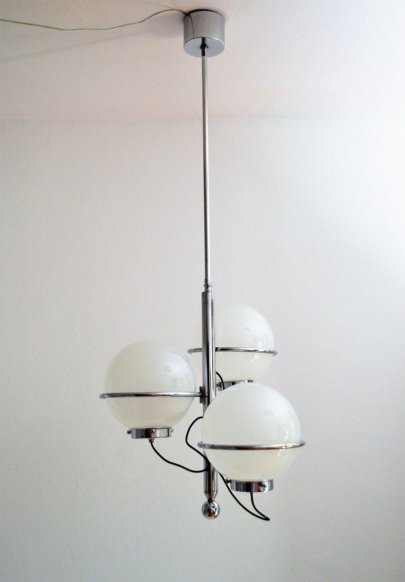 Italienische Chrom Hängelampe mit Murano Glas Kugeln, 1960er
