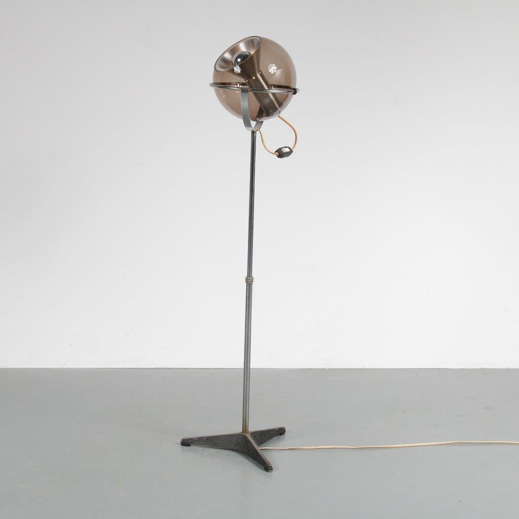 Höhenverstellbare Globe Standleuchte von Frank Ligtelijn für Raak, 196...