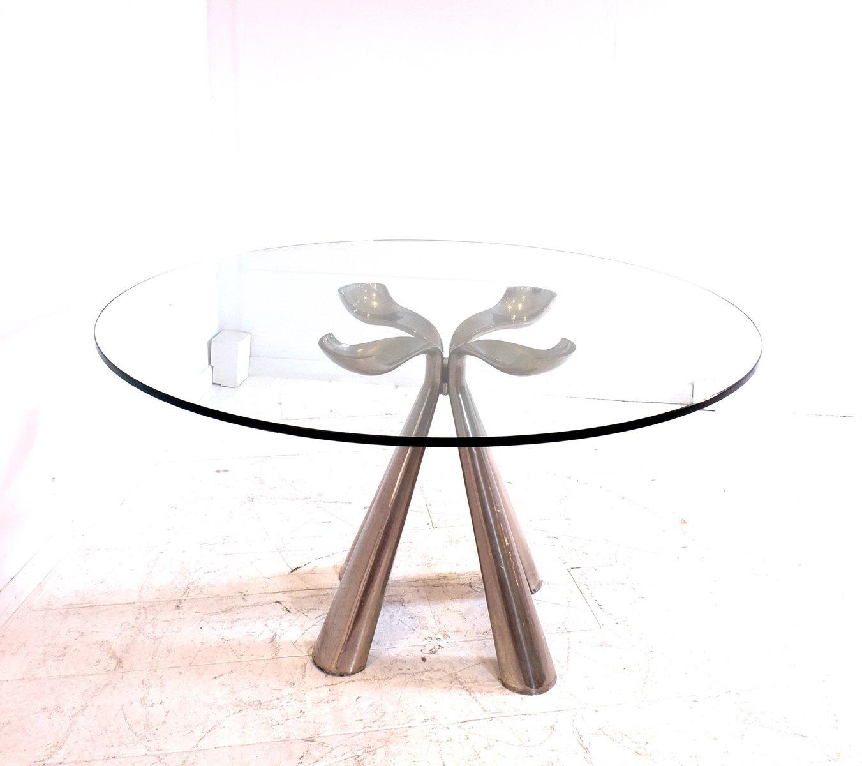Verchromter Esstisch mit Glasplatte von Vittorio Introini für Saporiti...