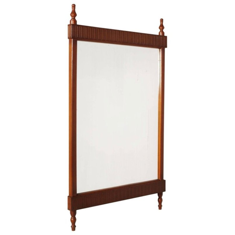 Italian Art Deco Wall Mirror in Carved Walnut for sale at Pamono