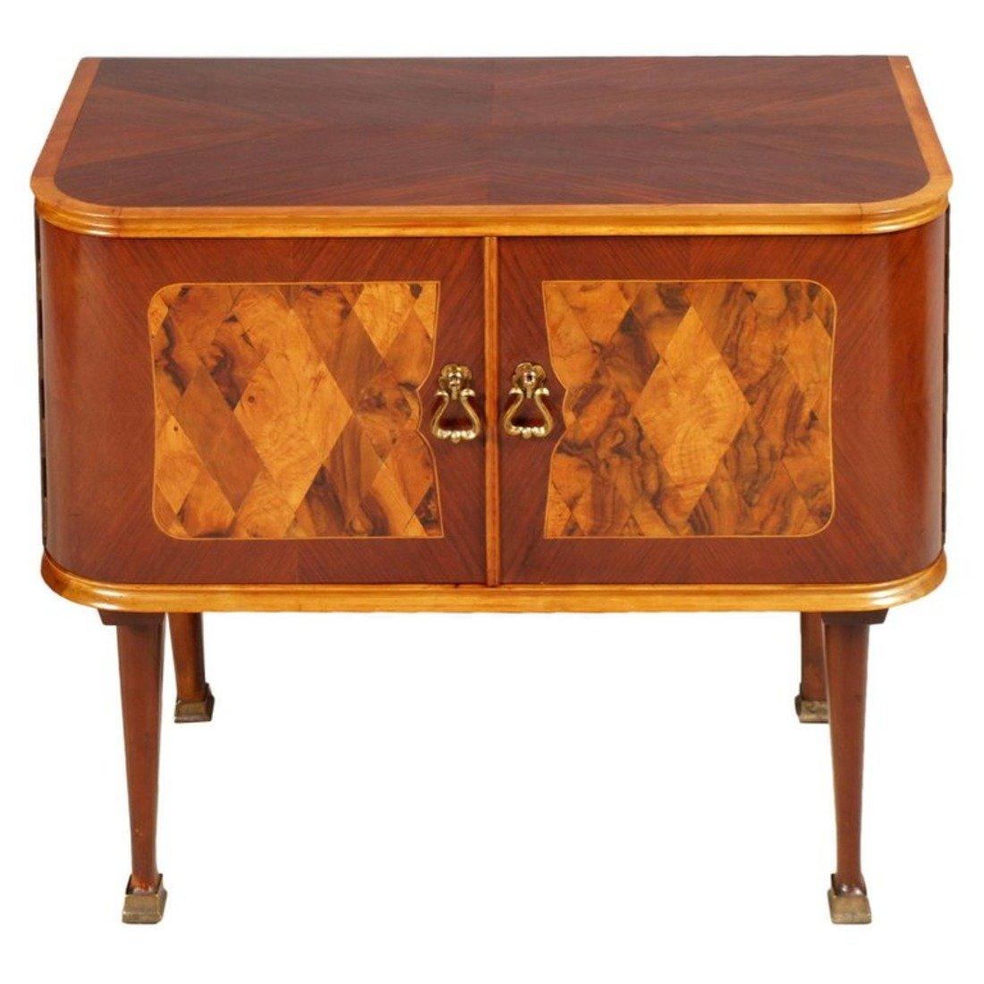 Mid Century Art Deco Walnut Burl Inlaid Nightstands From Consorzio