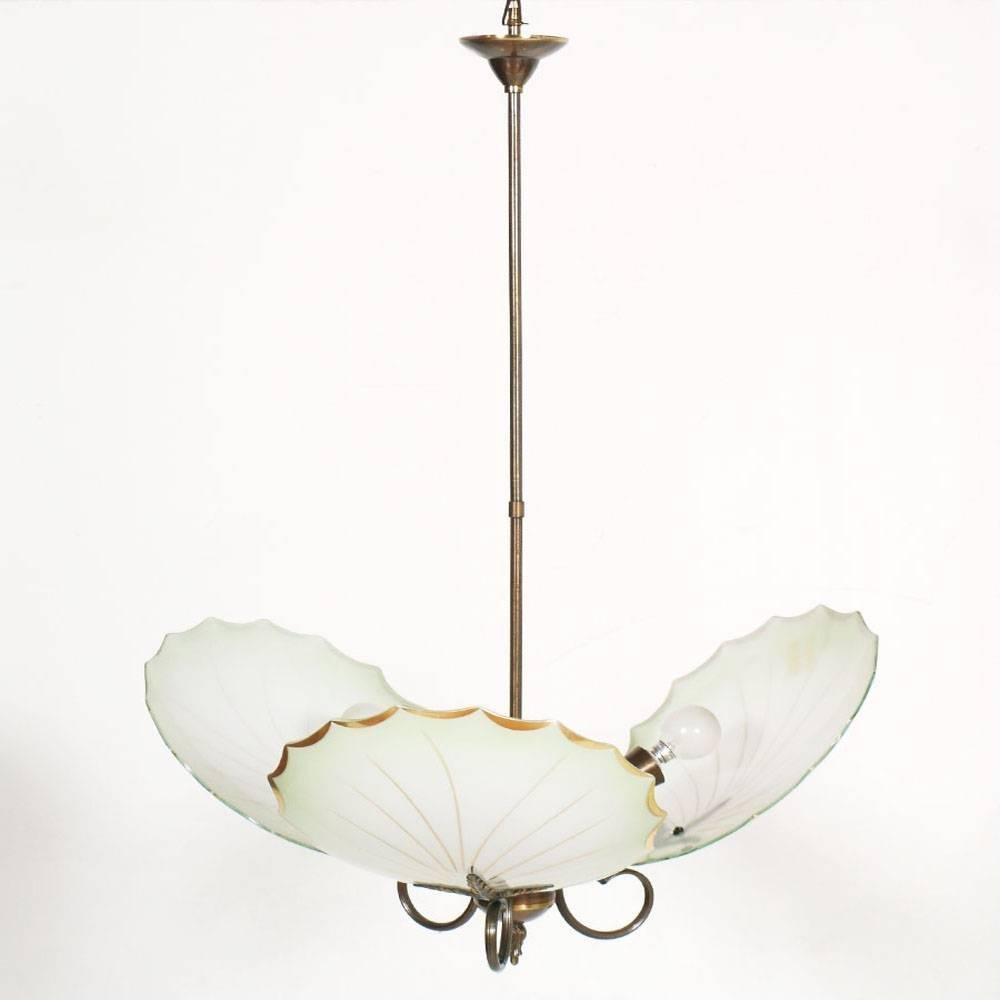 Mid-Century Art Deco Messing & Murano Glas Kronleuchter mit drei Leuch...