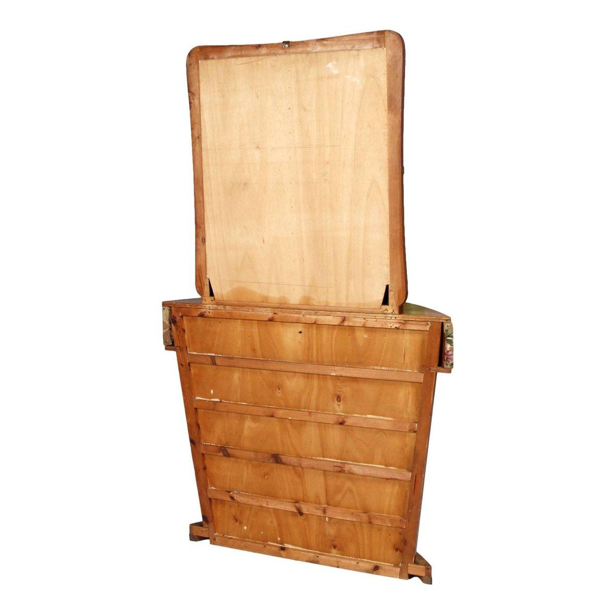 italienischer art deco wurzelholz frisiertisch mit spiegel. Black Bedroom Furniture Sets. Home Design Ideas