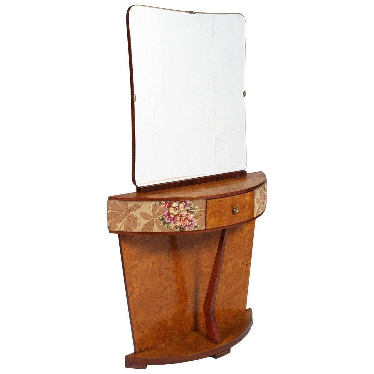 Italienischer Art Deco Wurzelholz Frisiertisch mit Spiegel