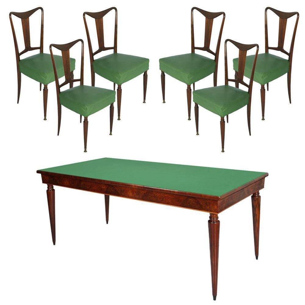 Italienischer Mid-Century Nussholz Esstisch & 6 Stühle