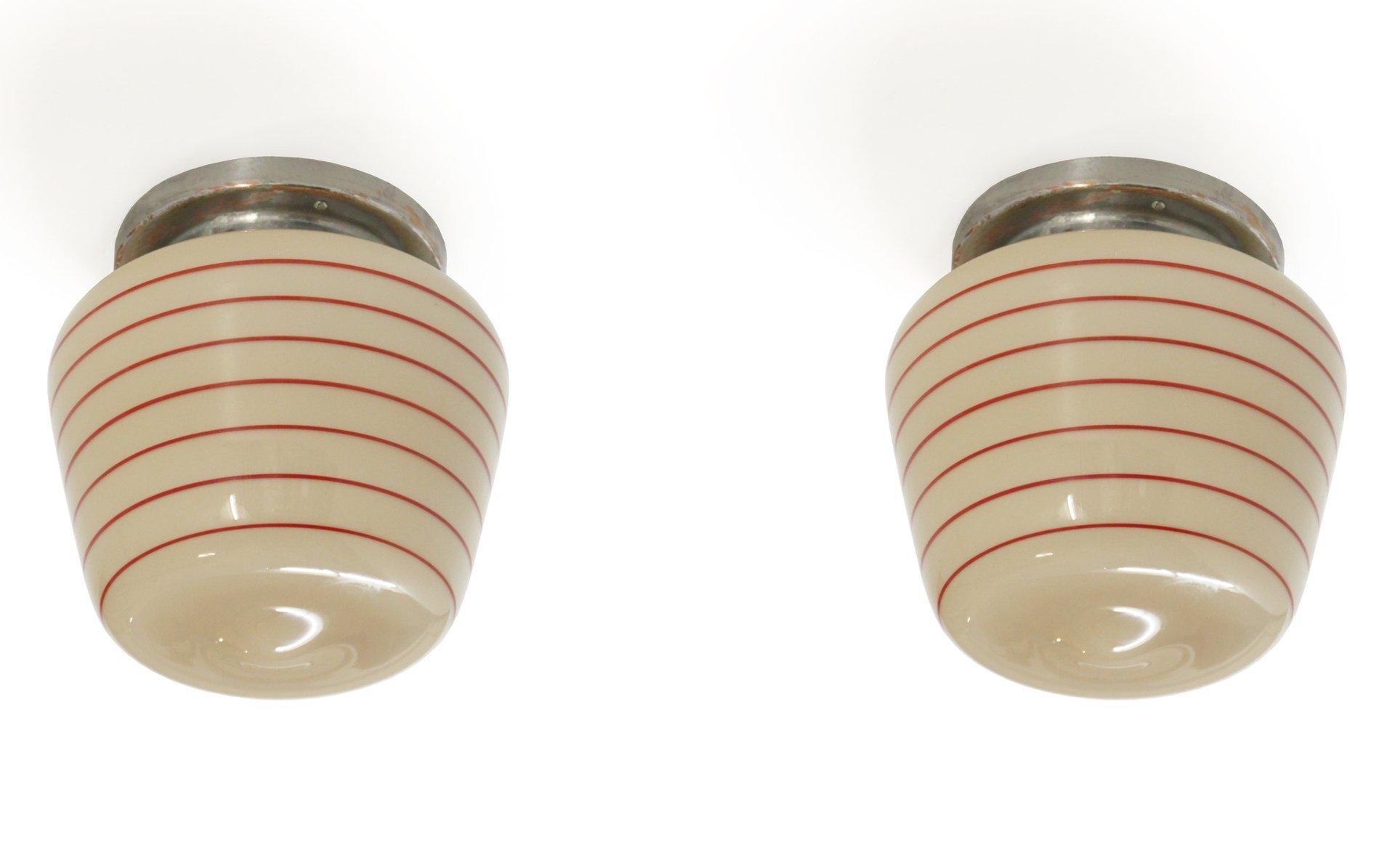 Funktionalistische Deckenlampen, 1950er, 2er Set