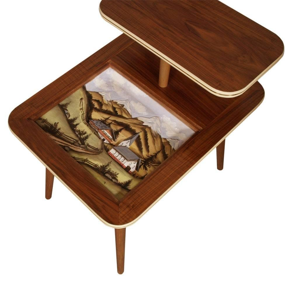 mid century coffee table with hand painted landscape. Black Bedroom Furniture Sets. Home Design Ideas