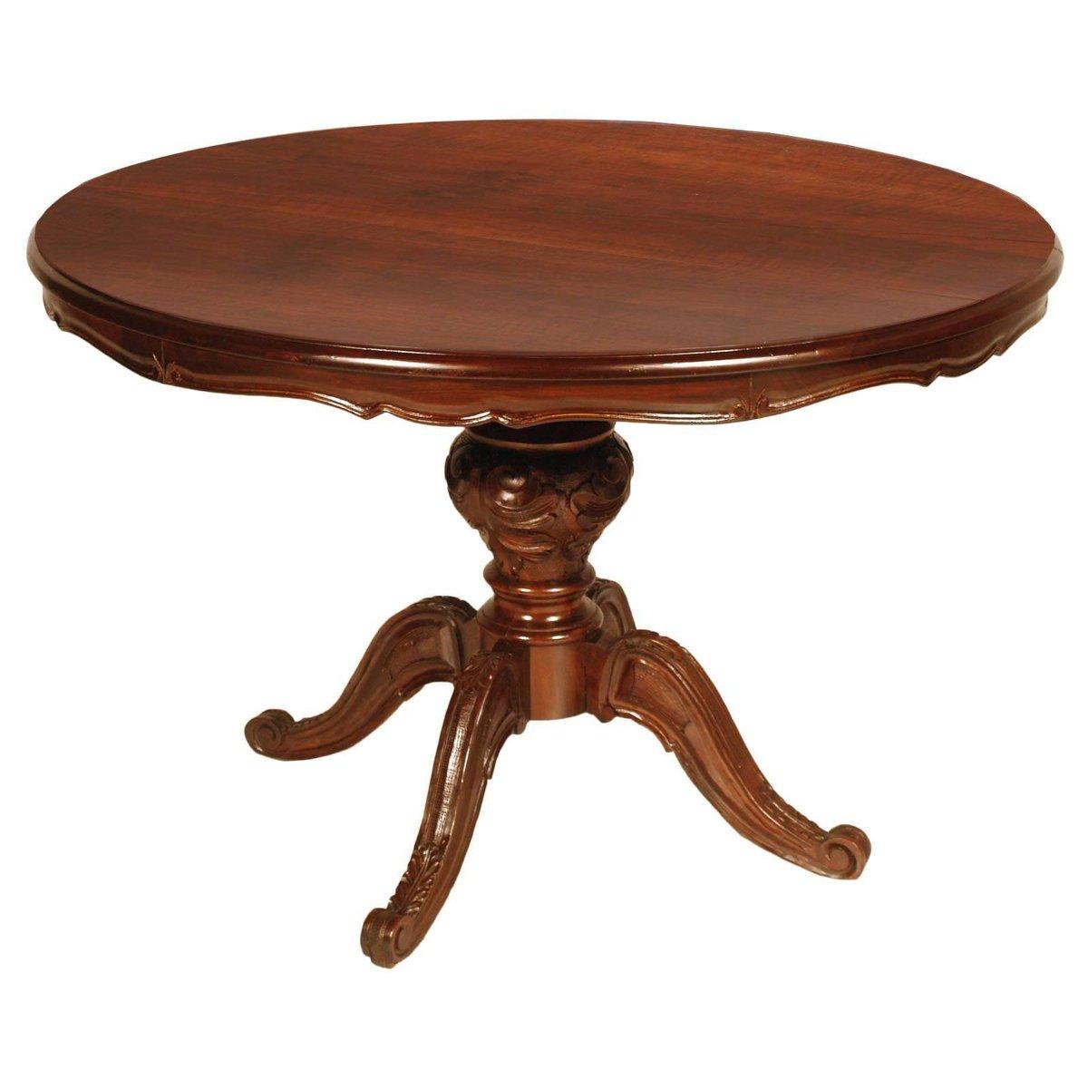 Runder Vintage Tisch im Louis Philippe Stil aus Walnuss