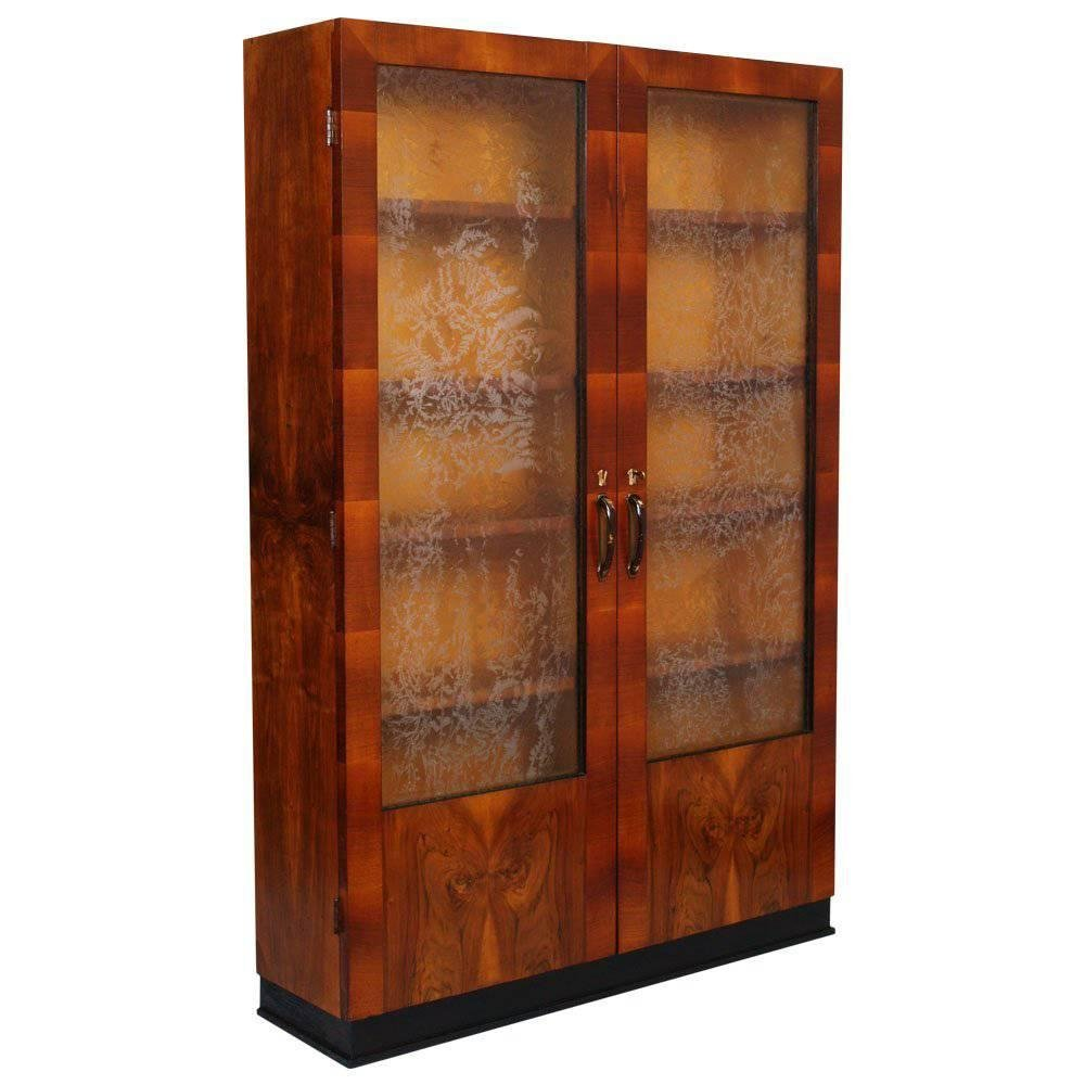 Bon Art Deco Italian Showcase Cabinet In Walnut U0026 Burl Walnut