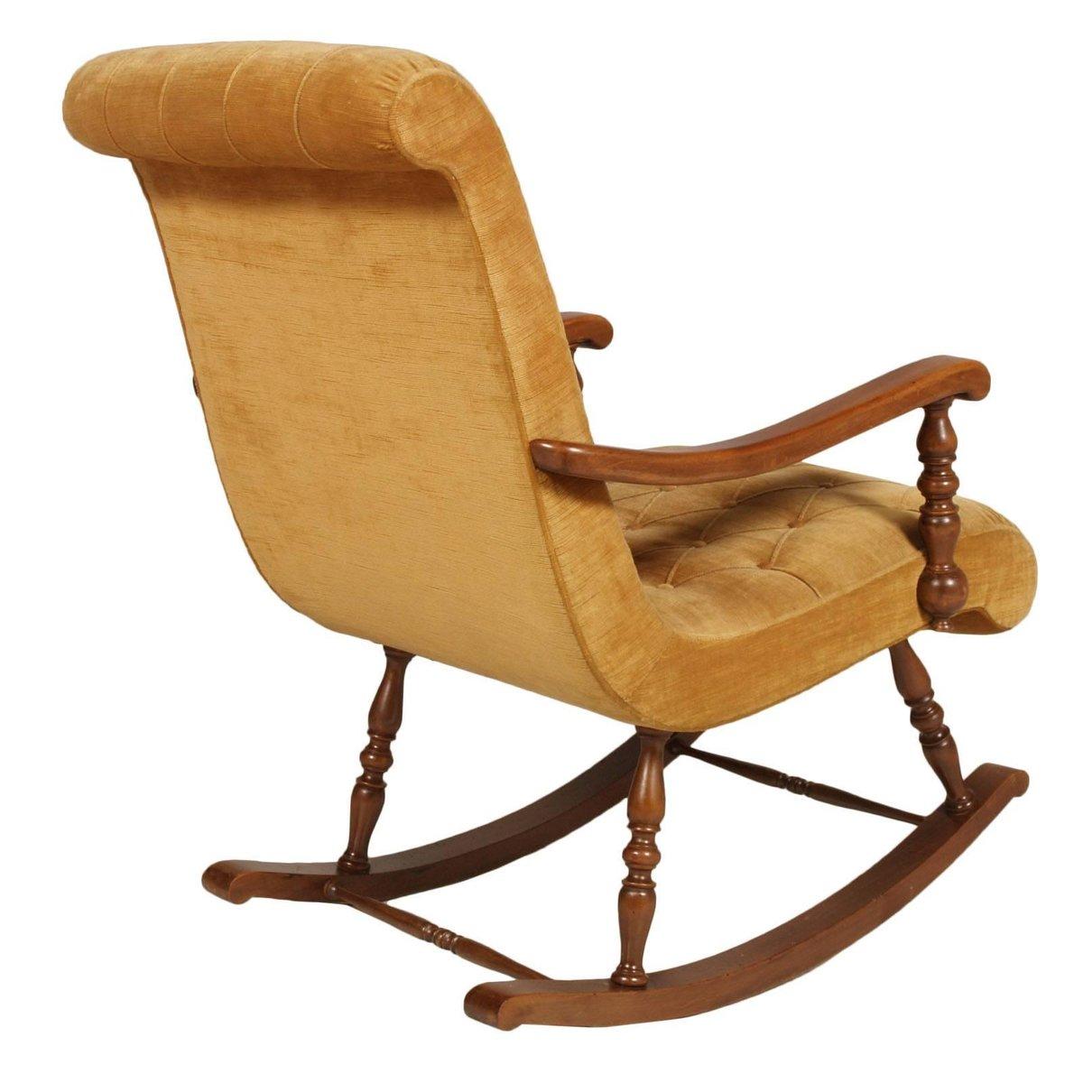 Mid Century Italian Rocking Chair In Walnut Amp Velvet