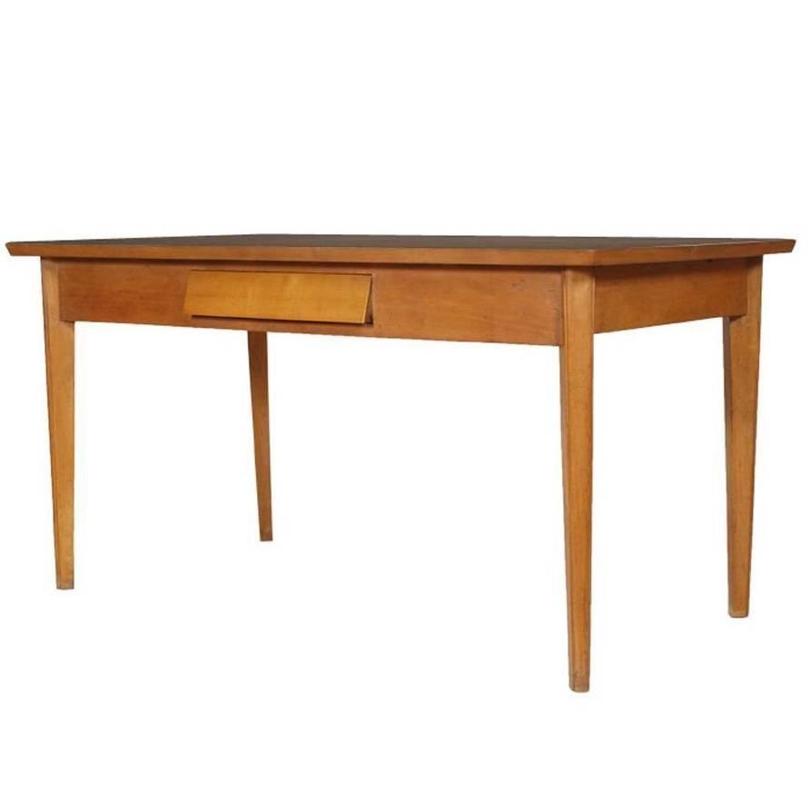Mid century modern buchenholz tisch mit schublade bei for Tisch mit schublade
