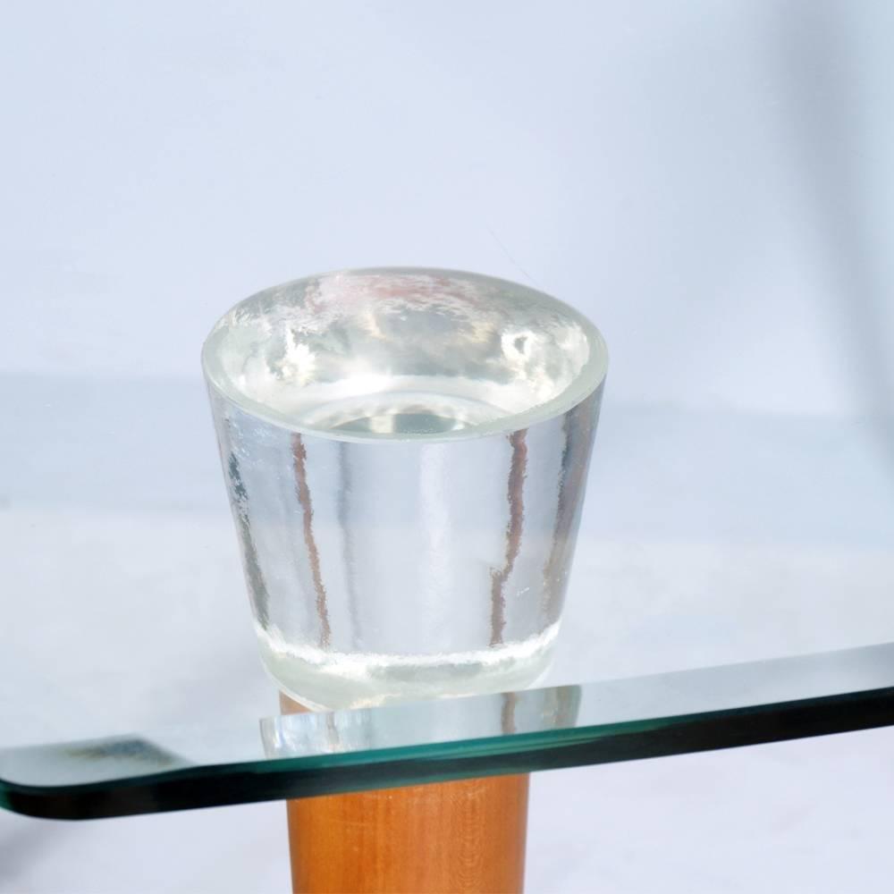 table mid century en noyer avec plateau en verre et t tes de pied en verre murano en vente sur. Black Bedroom Furniture Sets. Home Design Ideas