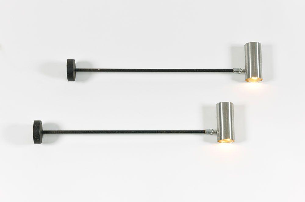 Stahl Wandlampen, 1970er, 6er Set