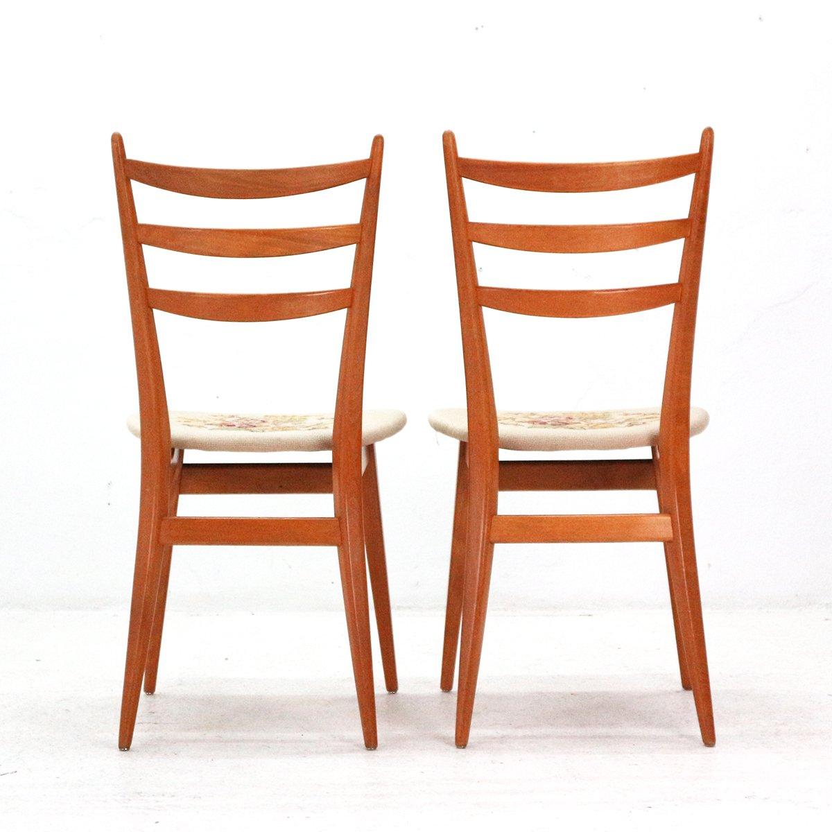 esszimmerst hle mit rosenmotiv 1950er 2er set bei pamono kaufen. Black Bedroom Furniture Sets. Home Design Ideas