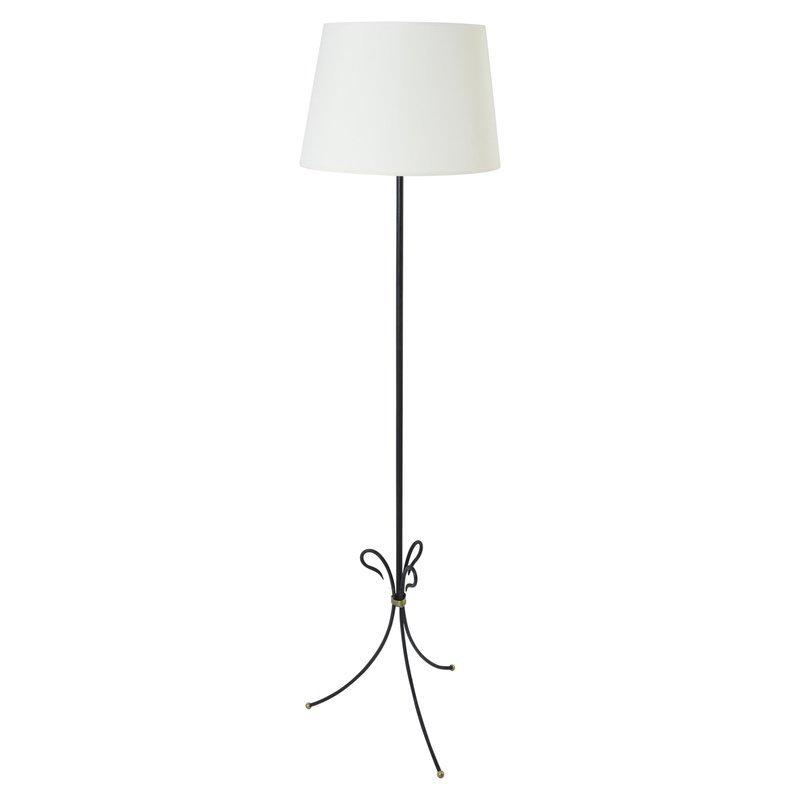 Schwarze Messing Stehlampe, 1950er