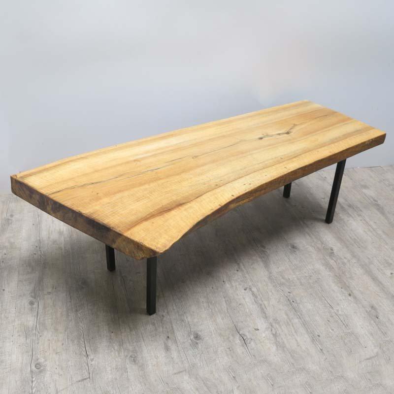 Tavolo vintage in legno grezzo e metallo in vendita su Pamono