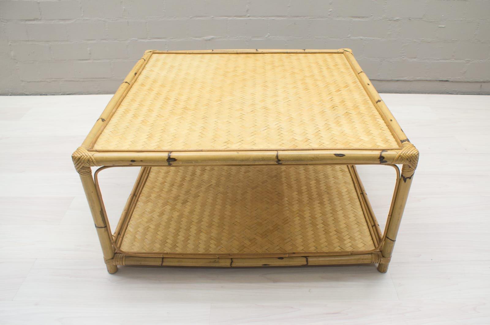 Large Bamboo Rattan Coffee Table 1960s 9 421 00