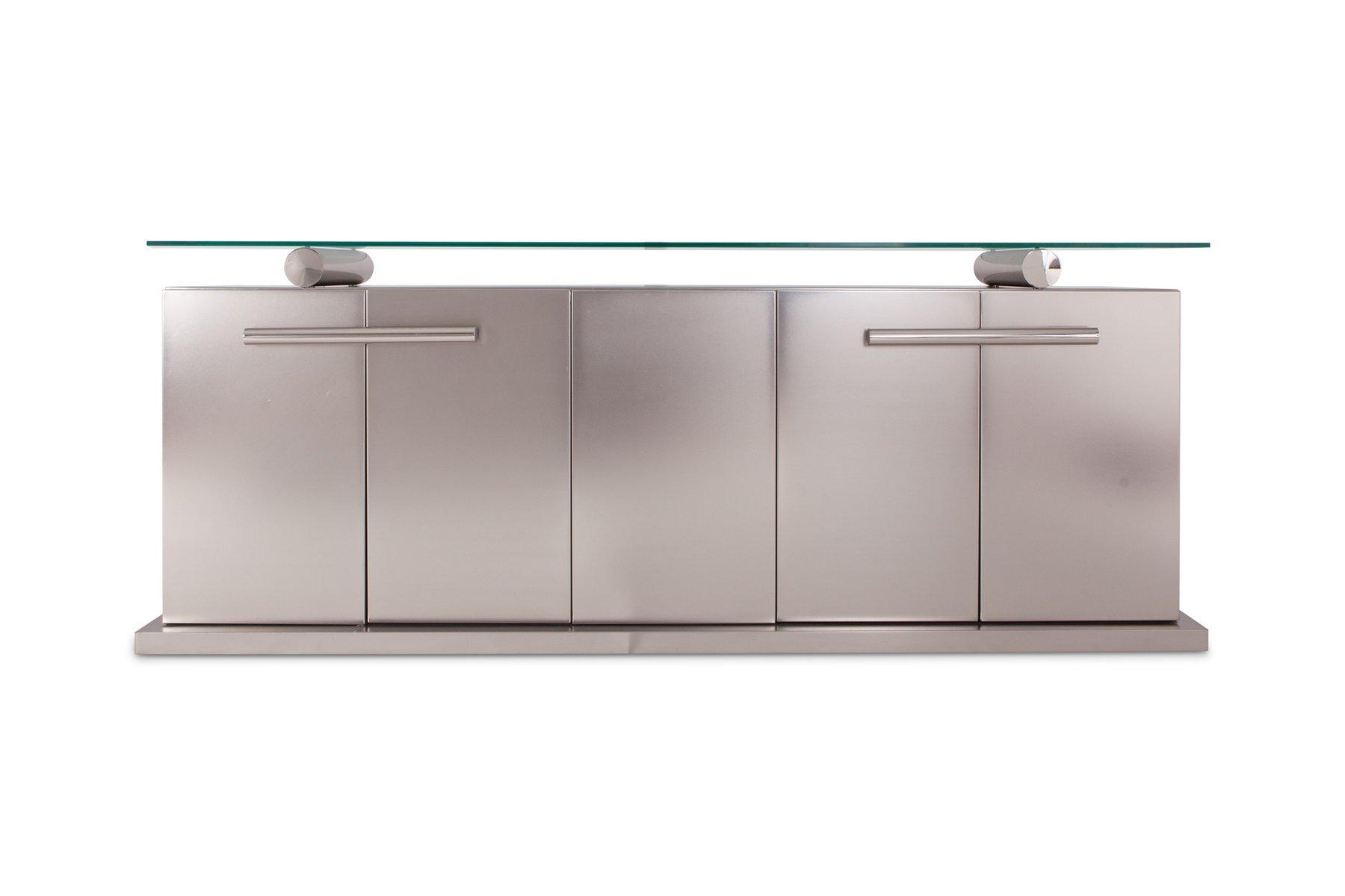 Sideboard aus gebürstetem Edelstahl mit schwebender Glasplatte von Bel...
