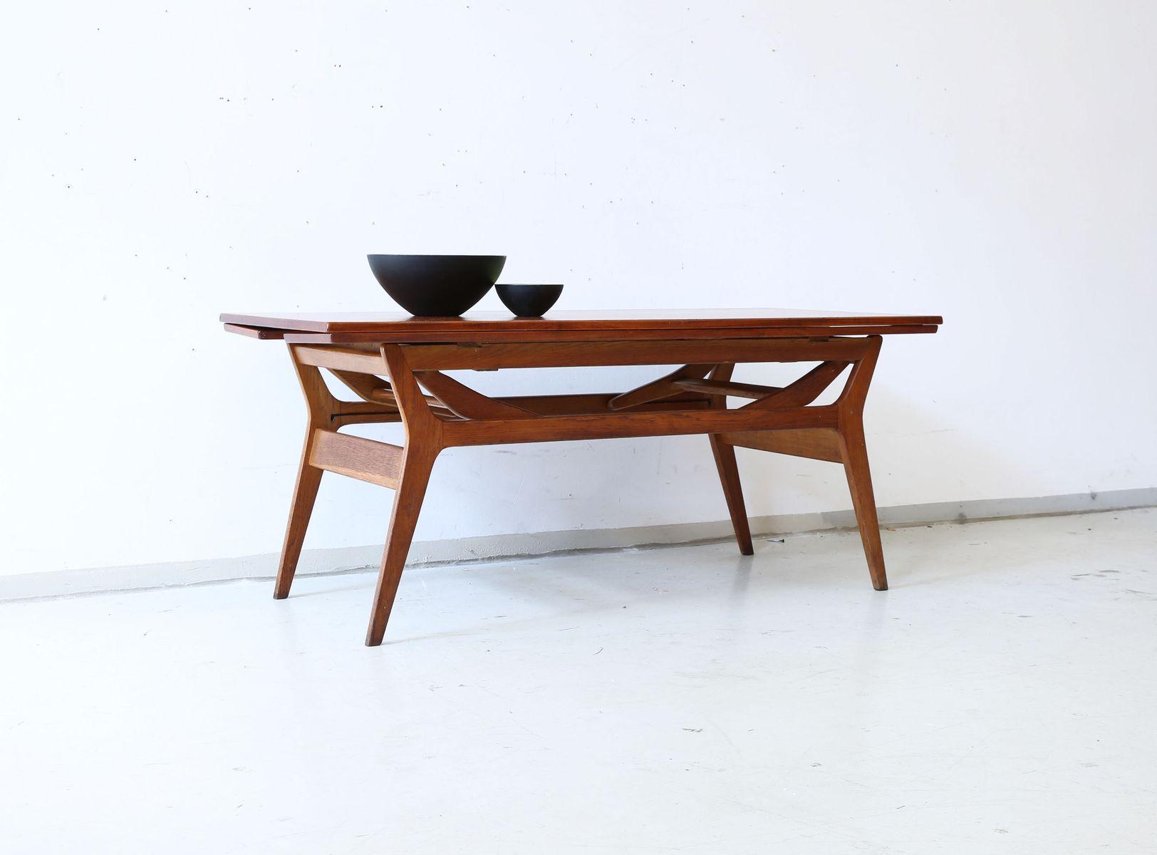 anpassbarer couchtisch oder esstisch aus teak 1960er bei pamono kaufen. Black Bedroom Furniture Sets. Home Design Ideas