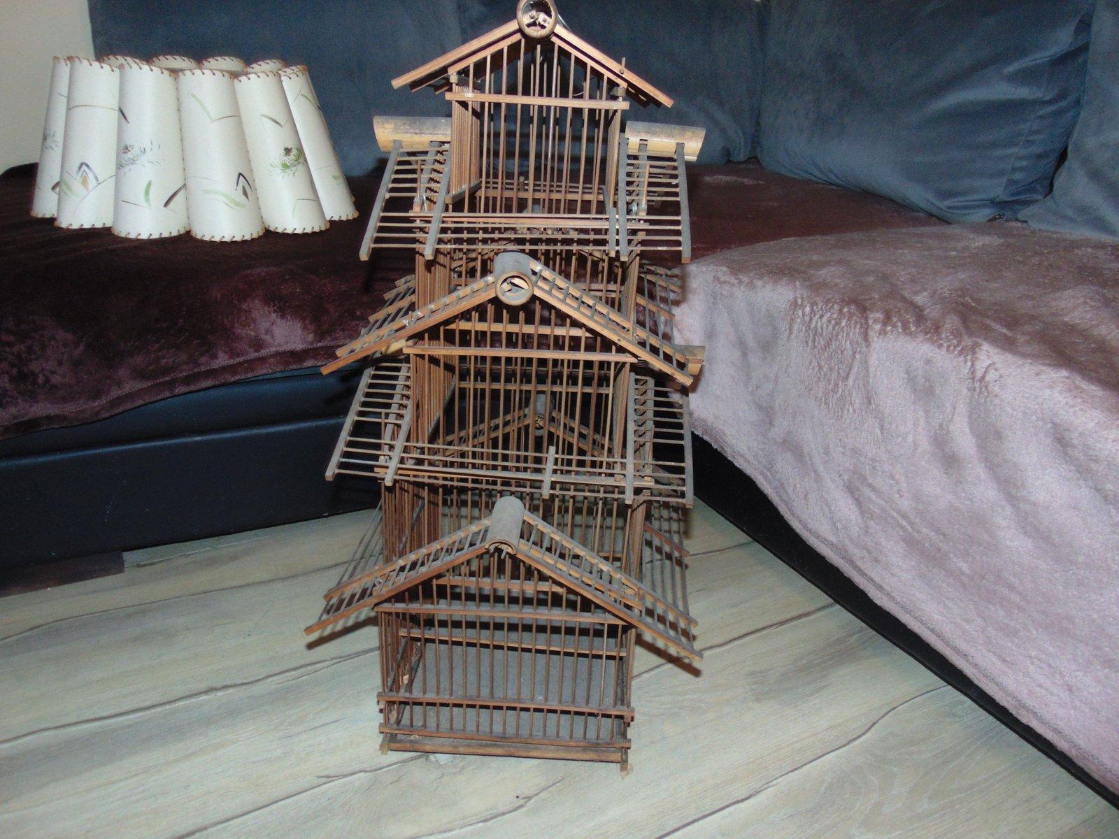 Gabbia per uccelli art déco in legno in vendita su pamono