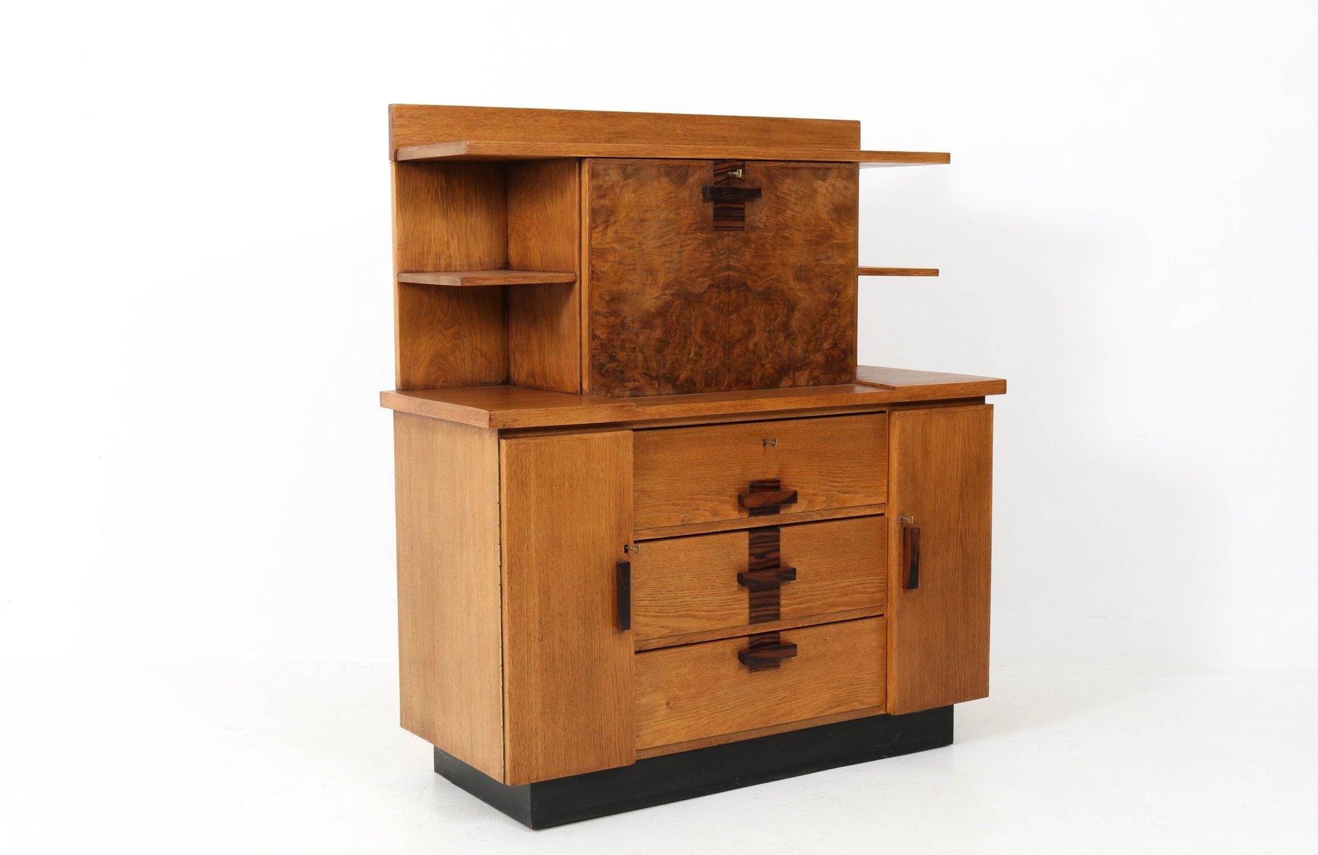 art deco haagse school secretaire by p e l izeren for de genneper molen 1920s for sale at pamono. Black Bedroom Furniture Sets. Home Design Ideas