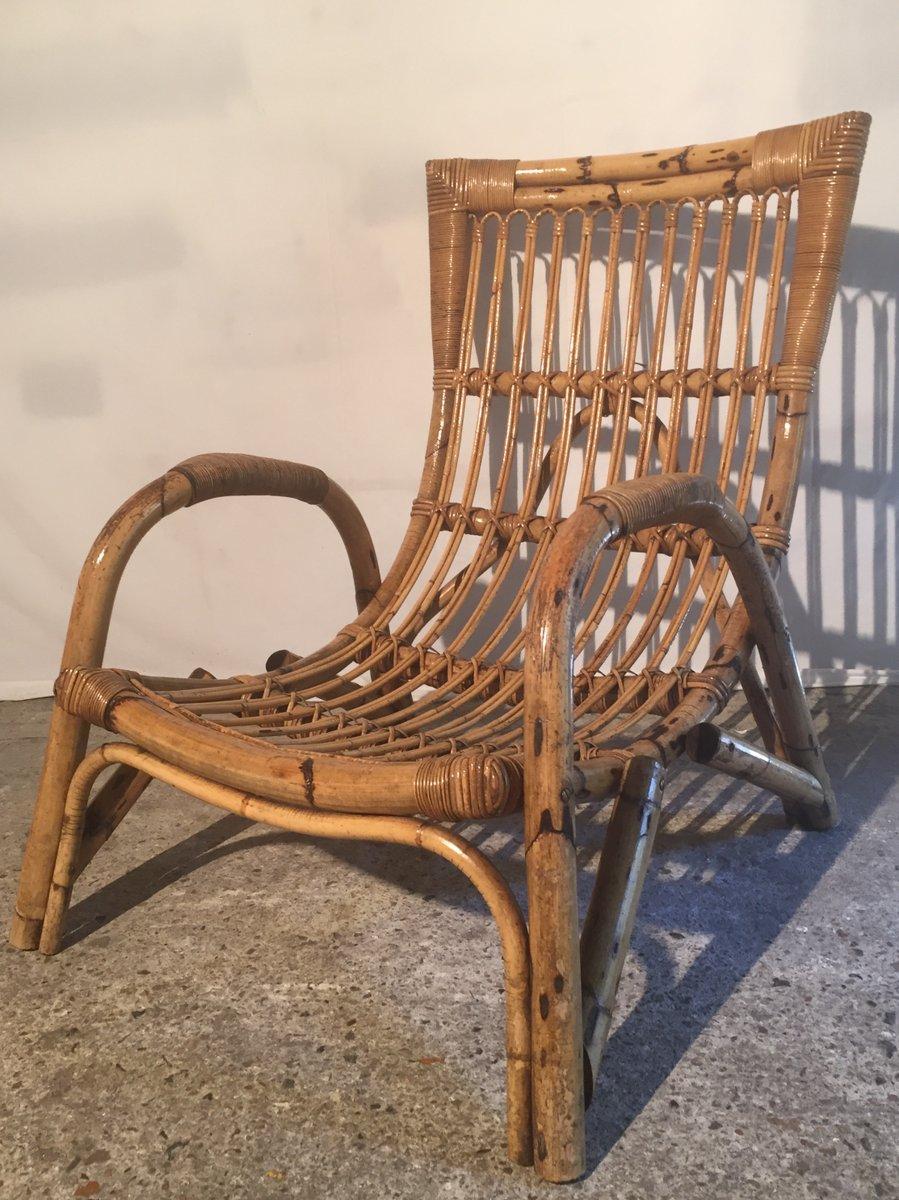 grand fauteuil en bambou et rotin france 1960s - Fauteuil Bambou