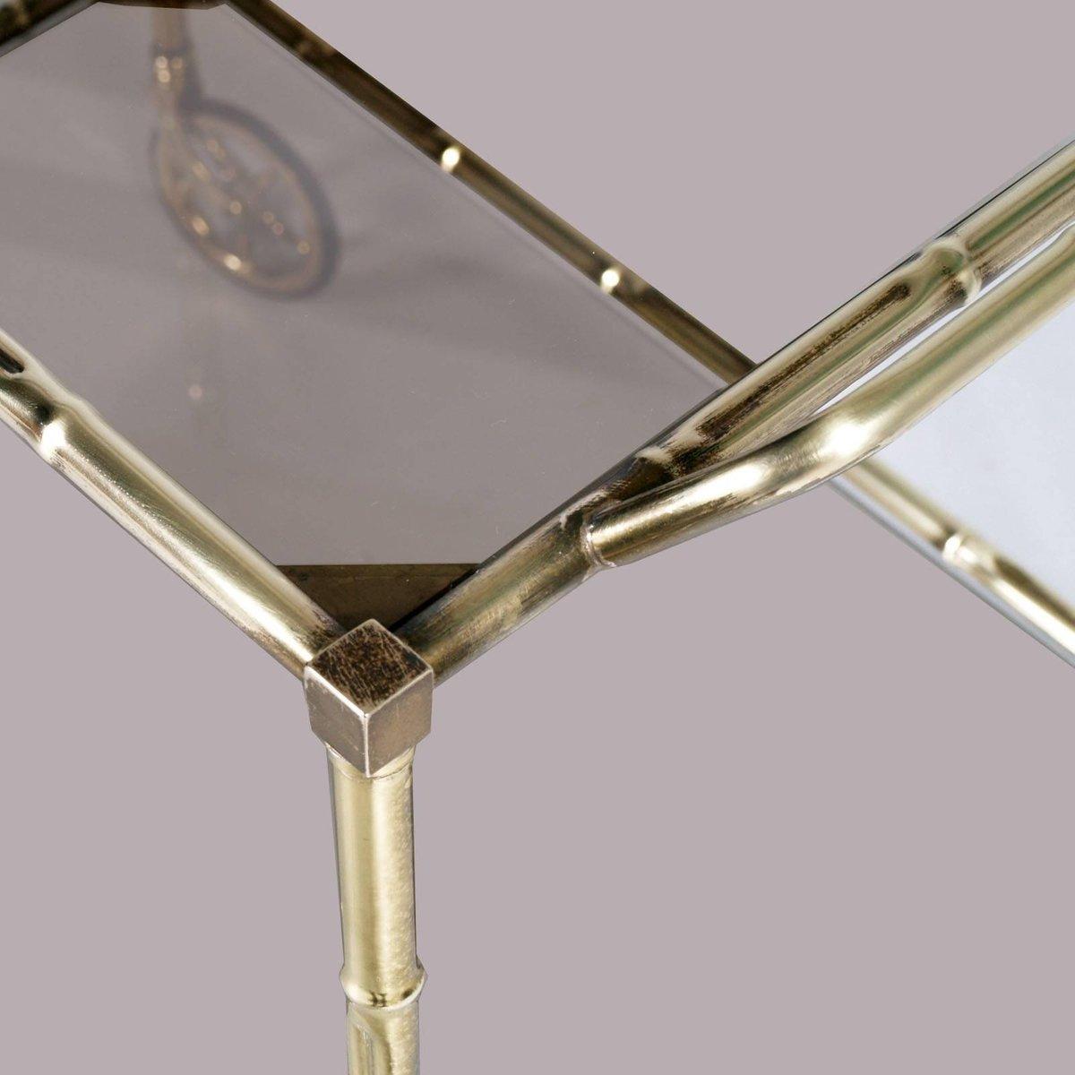 art deco servierwagen aus bambus messing und rauchglas 1940er bei pamono kaufen. Black Bedroom Furniture Sets. Home Design Ideas