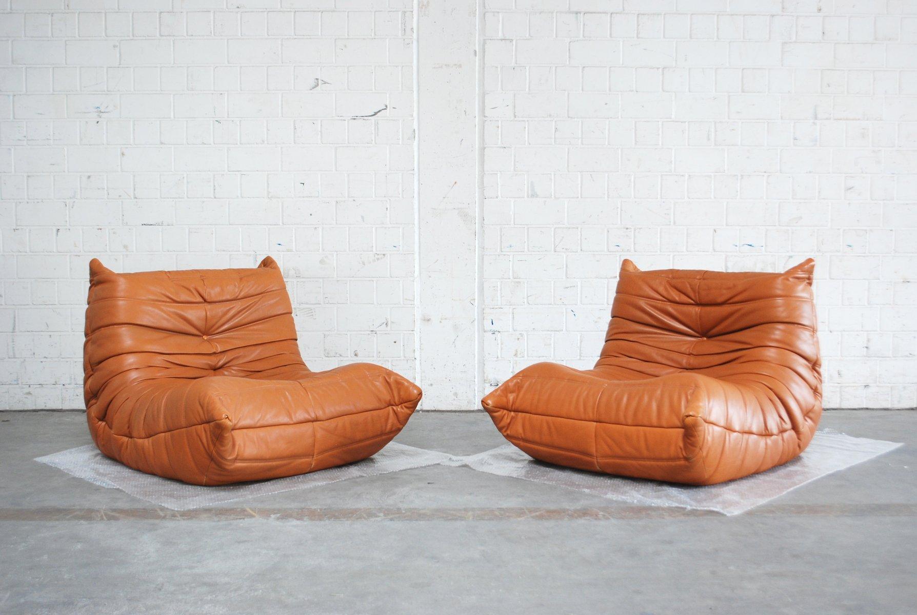 Togo Chair aus cognacfarbenem Leder von Michel Ducaroy für Ligne Roset...