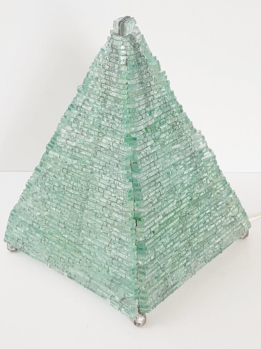 Mid-Century Glas Pyramiden Tischlampe, 1970er