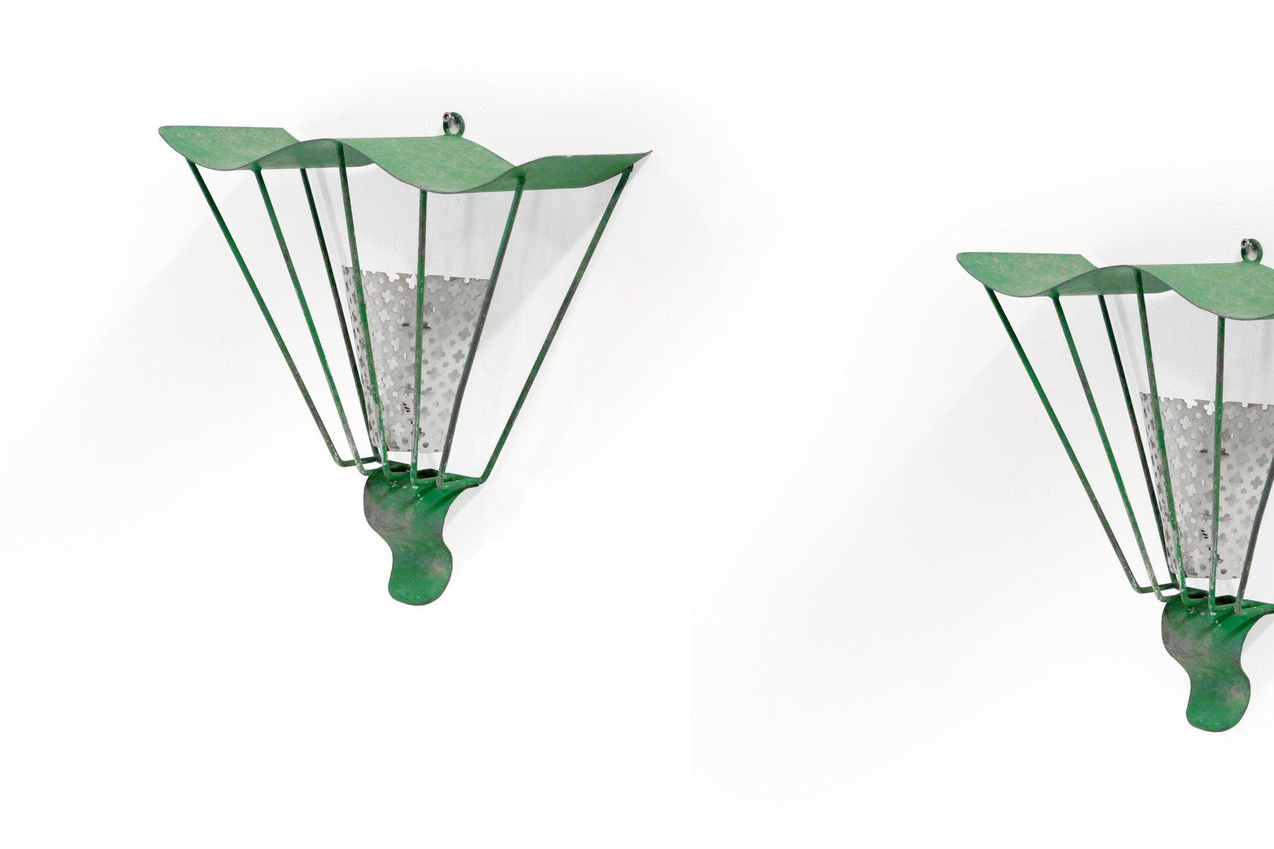 Französische Mid-Century Wandlampen, 1950er, 2er Set