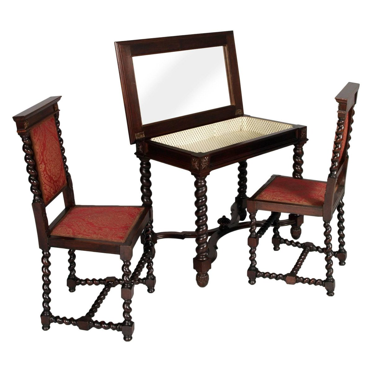 late 19th century renaissance dressing table with 2 chairs. Black Bedroom Furniture Sets. Home Design Ideas