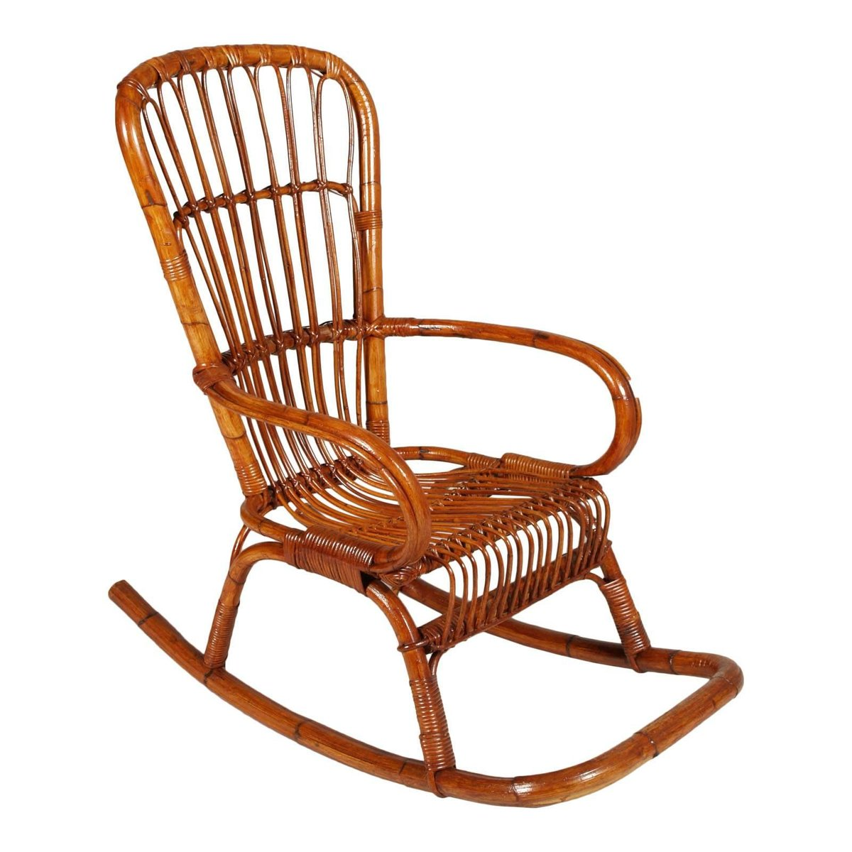 mid century italian bamboo rocking chair for sale at pamono. Black Bedroom Furniture Sets. Home Design Ideas