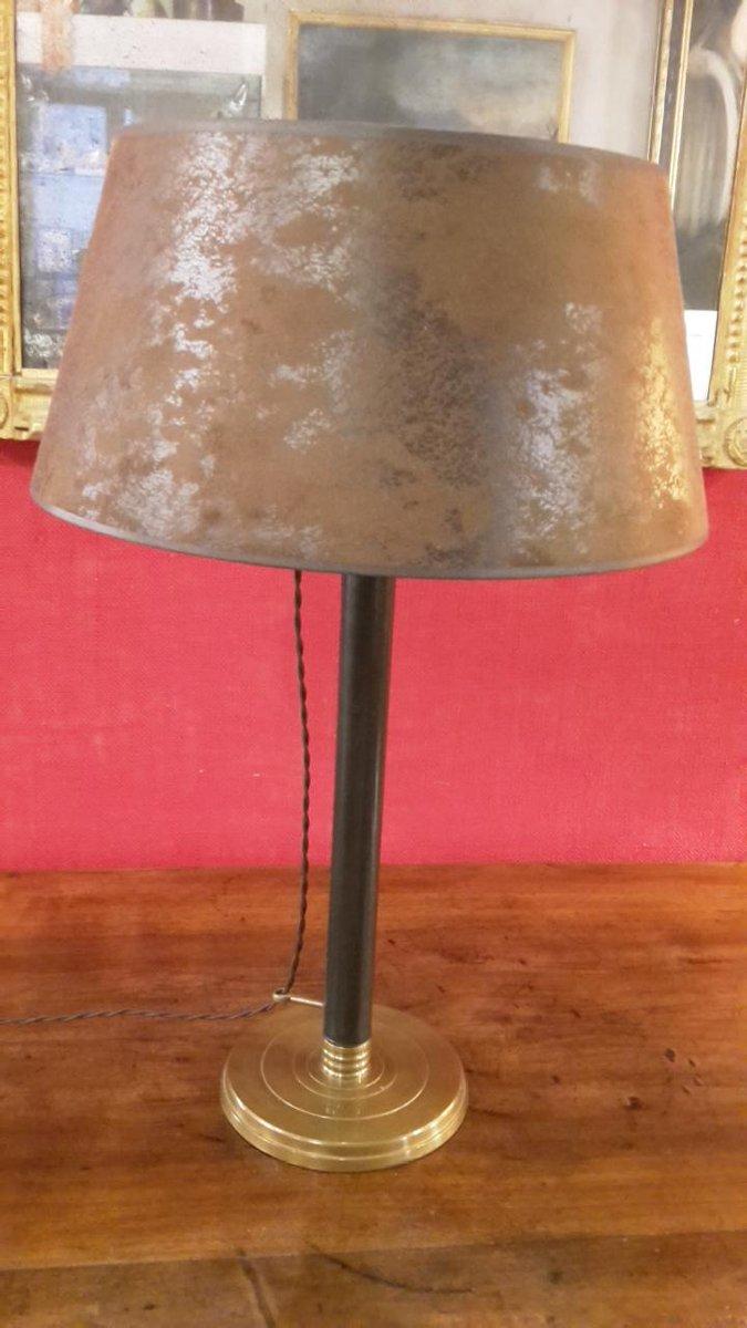 Anpassbare Leder & Messing Lampe, 1980er
