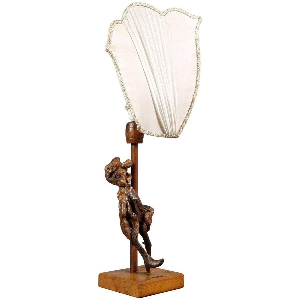 Tischlampe mit Skulptur aus Olivenholz, 1950er