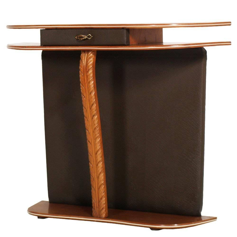 Mid Century Cherry Wood And Brown Leather Console Table