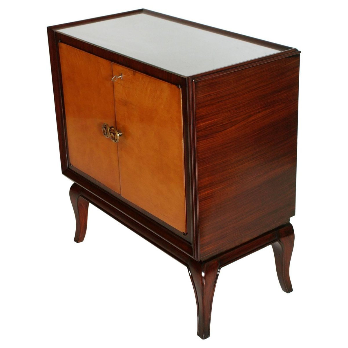 art deco mahagoni wurzel ulmenholz spiegelglas servierwagen bei pamono kaufen. Black Bedroom Furniture Sets. Home Design Ideas