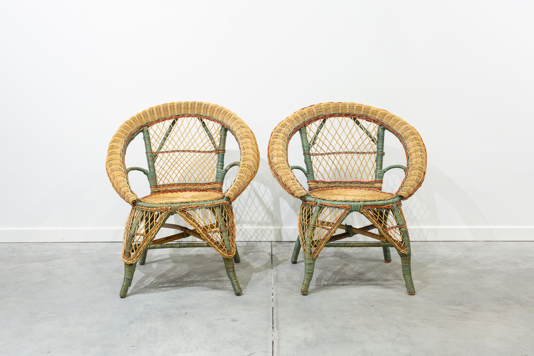 Vintage Wicker Chairs Set Of 2 For Sale At Pamono