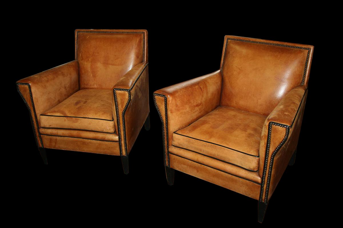 Vintage Italian Brown Leather Club Chairs Set Of 2